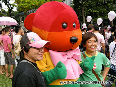 Lots of people were queuing to take photo with the rainbow bear