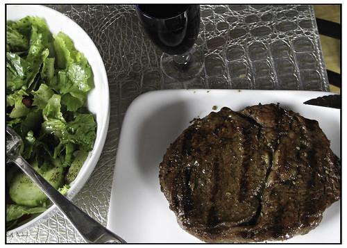 Steak, Salad and a splash of wine