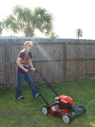 ben mowin the lawn