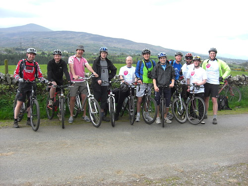 The team that set off from Bangor, from the left, Gareth Griffiths, Ralph Page, Glyn Jones, James Cox, Peter Linfield, David Irwin, Nick Cranston, Charlie Humphreys, Kevin Emm, Adam Linfield, Tim Longman