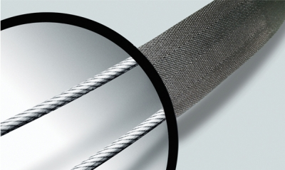 Slashproof high-tensile stainless steel wire built-in to strap