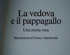 Virginia Woolf, La vedova e il pappagallo, Emme Edizioni 1984. Illustrazioni di Franco Matticchio. Frontespizio (part.)