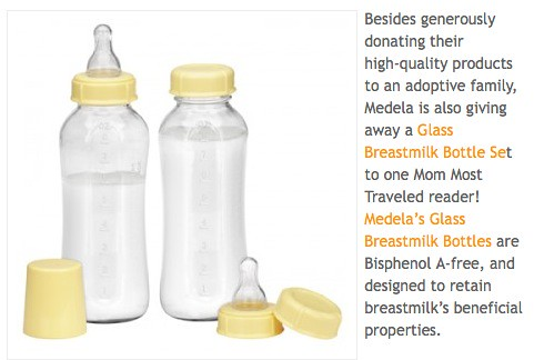 Medela is also giving away a Glass Breastmilk Bottle Set to one Mom Most Traveled reader!