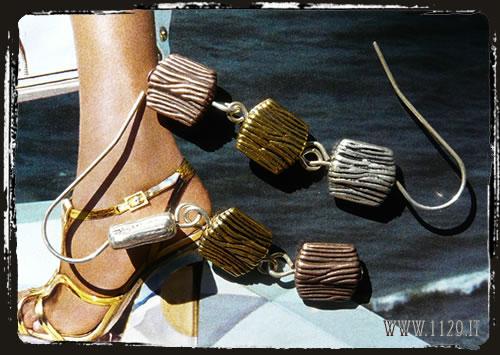 Orecchini argento oro rame - Silver copper gold earrings IDOARA