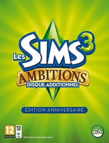 The Sims 3 Ambitions Anniversary Edition hi-quality box cover (French)