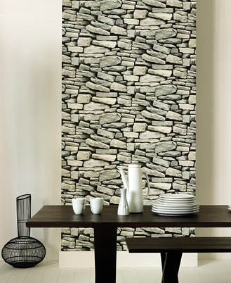 Modern wallpaper: Black + white faux stones. Awesome.