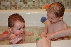 Claire and Marlow in the bath