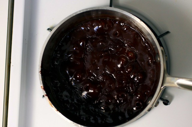 hot fudge sauce, bubbling gurgly, thick and shiny