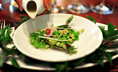 2nd Course: 2x-shucked peas and GOLDEN SHOOTS in a consommé of the shells