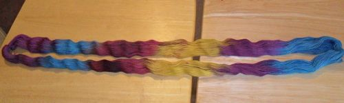 pooling scarf yarn in skein