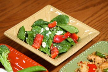 Spinach, Tomato, Red Pepper, and Feta Cheese Salad