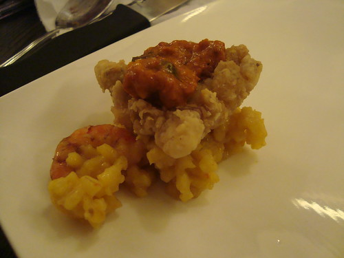 Sole fillet with seafood paella risotto at the F Word