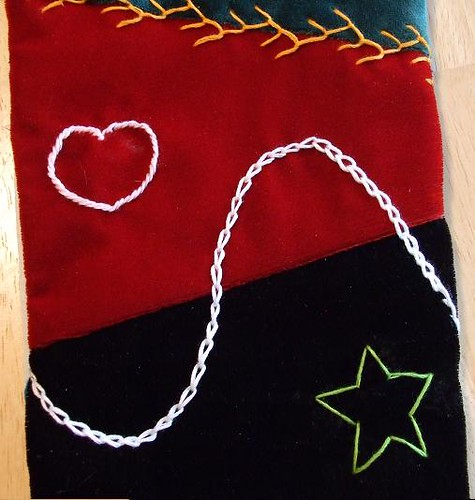 Commissioned Stocking Detail - Heart & Star