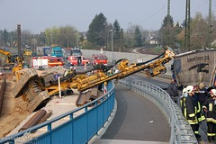 Umgestürzter Baukran Kostheim 06.04.09