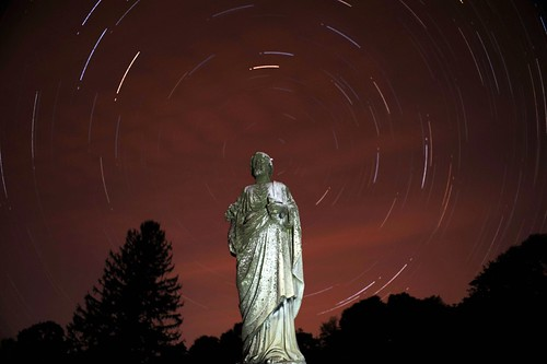 Star Trail in St. Agnes Cemetery, Albany NY