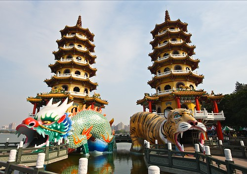 I really couldnt find much information on the Dragon Tiger Towers.  Basically, they seem a little Disneylandish, but are still quite beautiful and worth a visit if youre in Kaohsiung.
