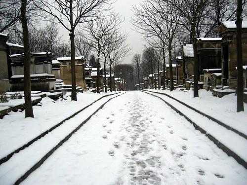 Snow at the Cimetiere de Pere Lachaise.