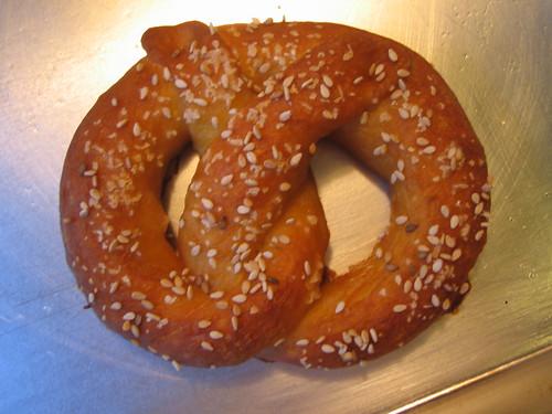 sesame seed and salt pretzel