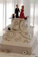 Diamond plate and motorcycle sprocket wedding cake