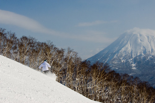 Cathy with Mt Yotei in the background
