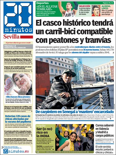 Carriles Bici y trama en los cascos históricos.