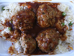 Pork balls over rice