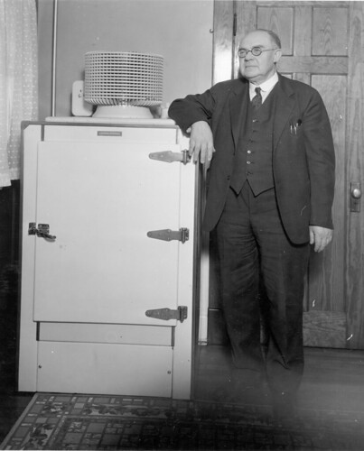 Christian Steenstrup With First GE Monitor-top Refrigerator