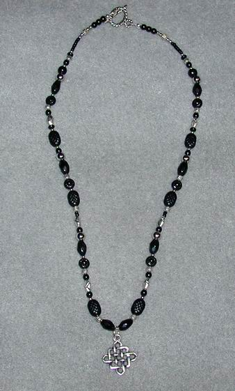 Black & Silver Celtic Cross Necklace