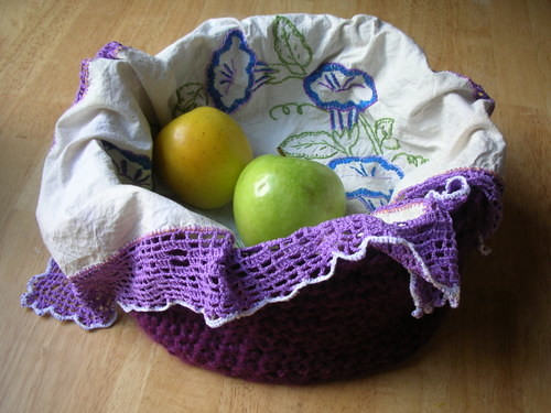 Crochet basket and embroidered crochet tortilla cloth by you.