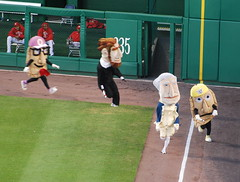 The pierogies from Pittsburgh's great pierogie race take on the Washington Nationals racing presidents at Nationals Park