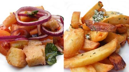 Patate Fritte & Panzanelle (Salade van tomaat, rode ui, basilicum, gaeta olijf en brood)