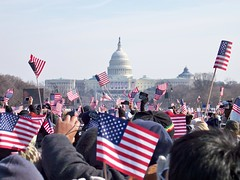 Flags in the inauguration crowd