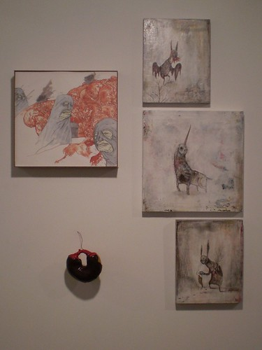 paintings/drawings by fionn mccabe and joe keinberger, meat donut by arthur henderson