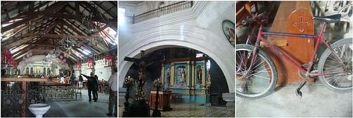 Bacolor church, altar, bike, no fancy ceiling