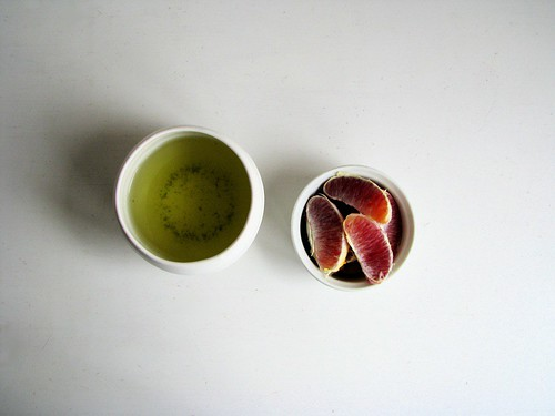 green tea + blood oranges