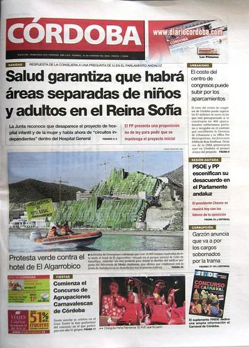 Diario Cordoba portada Algarrobico 13 de Febrero del 2009.