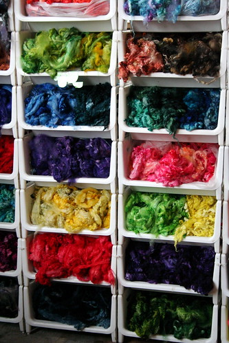 Bins of colorful fleece from MDS&W in May
