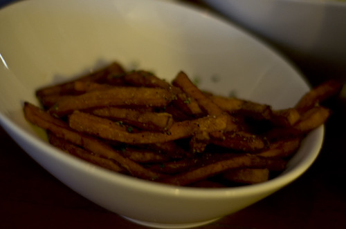 Sweet Potato Fries as the Sides for the Steaks