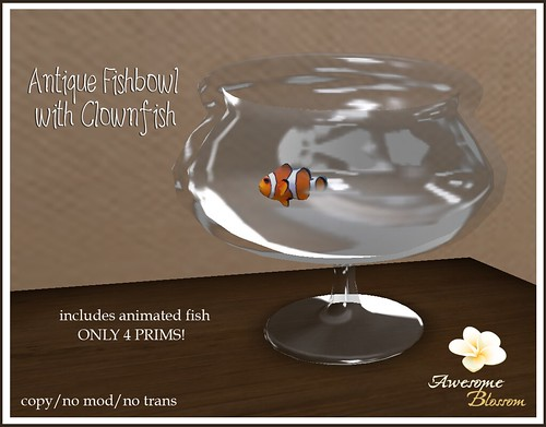 :: Awesome Blossom :: Antique Fishbowl w/ Clownfish