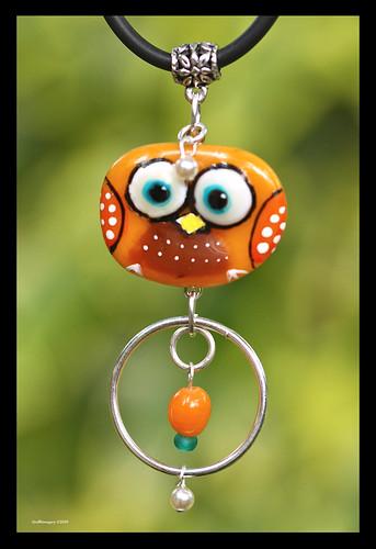 """What a Hoot"" another Bindi Bird pendant by Sandra Miller ©2009"