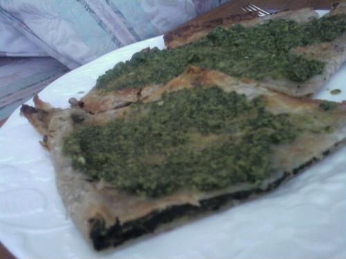 Bolani with cilantro sauce