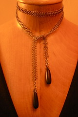 mesh lariat with 2 juicy wooden teardrops