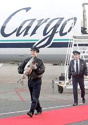 Alaska Airlines copilot Mark Awon walks down a red carpet with the first of this seasons Copper River King Salmon at Seattle-Tacoma International Airport in Seattle Friday morning May 16, 2008.