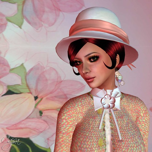 Curios June skin with the Daylily makeup and Curio hair as well. The hat is from Illusions and is supposed to be all white, but I tinted the ribbon.