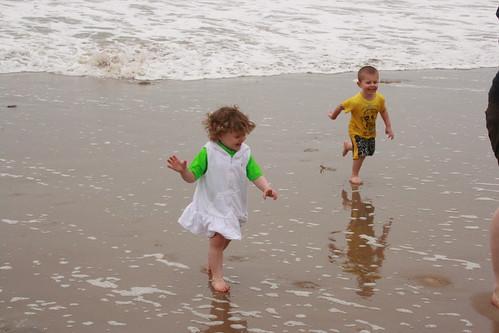Amelia & Jaden running like mad.