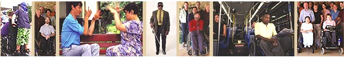 row of photos of people standing, sitting signing to each other, standing with glasses and cane, sitting in wheelchairs