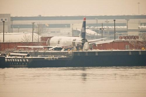US Airways Flight 1549 on a barge in Weeks Marina