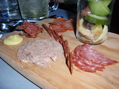 House Made Charcuterie (meats),  Bread & Butter Pickles, Dijon Mustard with Crusty Bread