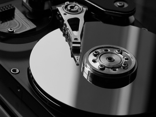 hard disk in b&w