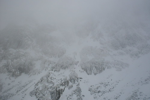 Climbers making their way up to the Spider snowfield
